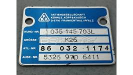Plakette / Typenschild Turbolader 035145703L Audi 100/200 Typ 44 / Urquattro / 5 Zylinder 10V Turbo